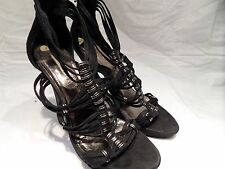BLACK STRAPPY SANDALS / SHOES 4.5 INCH HIGH by Lastrada SIZE 5