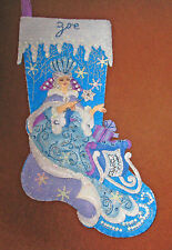 "FINISHED stocking ""Snow Queen"" Frozen blue purple white PERSONALIZED FOR YOU"