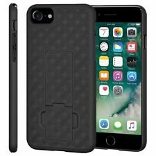 "AMZER Shell Snap On Hard Case Kickstand Rugged Cover For iPhone 7 4.7"" - Black"