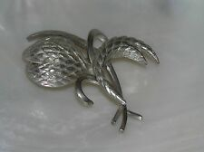 Vintage Etched Silvertone Flower Bud with Leaves Pin Brooch – 2 x 2 and 1/8th's