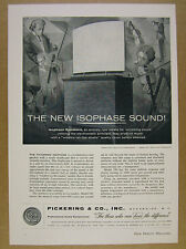 1956 Pickering ISOPHASE Electrostatic Speakers Models 580 581 vintage print Ad