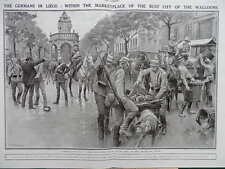 1914 LIEGE PLACE DU MARCHE GERMAN OCCUPATION WWI WW1 DOUBLE PAGE