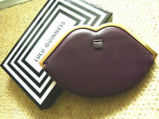 Lulu Guinness Damson purple leather lip frame purse / pouch / clutch bag