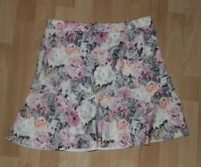 BNWOT~WHITE/PEACH/PINK PASTEL FLORAL SHORT FLOATY SKIRT~SZ 10~NEW LOOK~OCCASIONS