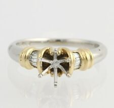 NEW Engagement Ring Semi-Mount - 900 Platinum & 18k Yellow Gold For 6.5mm or 1ct