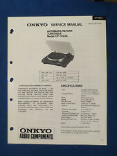 ONKYO CP-1022A TURNTABLE SERVICE MANUAL ORIGINAL FACTORY ISSUE GOOD CONDITION