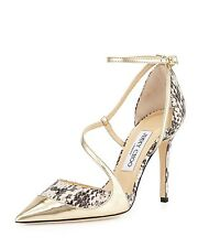 Jimmy Choo Mirror Mutya Snakeskin Point-Toe Pump Sandals. Sz 39.5/9.5B***$775***