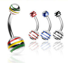 4pc Surgical Steel Striped Ball Navel Rings 14g Belly Naval wholesale lot (b48)