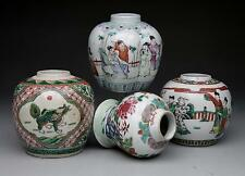 4X antique CHINESE PORCELAIN JARS 19th & 20th century Famille Verte Rose vase