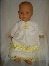 "White /Yellow Lace Handmade Dress. Fit  Baby Annabell/Baby Born 16""/18"" Doll"