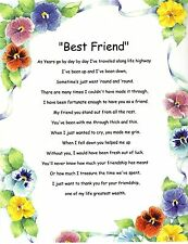 Best Friends Verse Inspirational Poem Plaque Print Laminated (that can be frame)