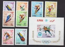 Ajman 1967 Olympia Olympic Grenoble 1968 Winterspiele 199-206 A, Bl. 18 ** MNH