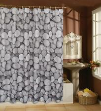 POLYESTER 180 X 180 CM STONES PEBBLES NAUTICAL SHOWER CURTAIN WEIGHTED HEM
