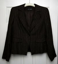 M&S Autograph linen pinstripe jacket chocolate  brown 14