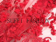 """3D Customized Exquisite Embroidery Beads Mesh Wedding Lace Fabric 51""""Wide/Yd"""