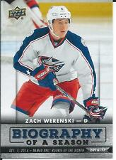 2016-17 UD Biography of a season ZACH WERENSKI #BIO-9 Columbus Blue Jackets
