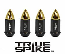 32 VMS RACING 60MM 14X2.0 STEEL LUG NUTS W/ GOLD BULLETS FOR FORD F-350 F350