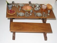 ED WHITTEN Country Pine Dollhouse Furniture Dining Table Set 1:12 + Extra 36 PCS
