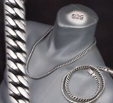 "24"" 165g HEAVY DOUBLE CURB LINK CHAIN 925 STERLING SILVER MENS NECKLACE PRE"