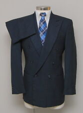 Mens 40R Kuppenheimer 2 Piece Blue/Black 100% Wool Double Breasted Suit