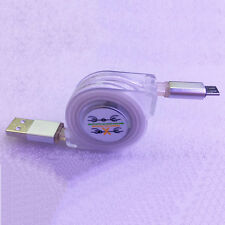 LED Light Retractable Micro USB Charge Data Sync Cable For Android Samsung Lot