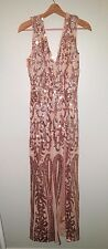 new SOLDOUT asos club L gold prom sequin embellished maxi dress us 8 M