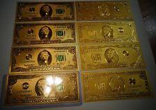 Lot Of 10 *24 Karat 99.9% Gold Us 1976 $2 Bill-Green Seal Rigid Pvc Bill Holder