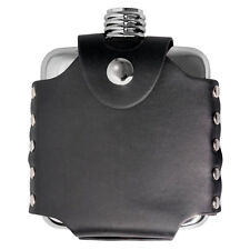 Visol Stud 4oz Stainless Steel Hip Flask with Black Leather Wrap , New in Box