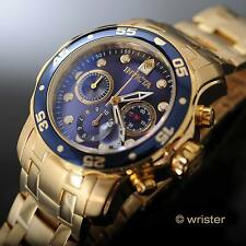 18k Gold IP Invicta Pro Diver Scuba Quartz Chronograph Blue Dial Men's Watch New