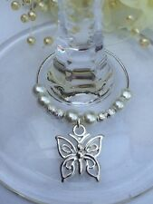 20 White Pearl With Butterfly Wine Glass Charms. Wedding, Favour, Christening