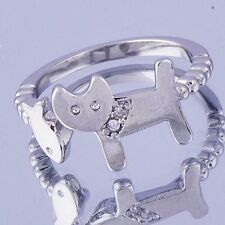 Cute Womens Cat and Fish Crystal silver plated Adjustable Band Ring Size 6
