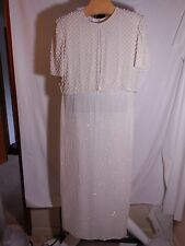 MISSES LONG MAXI OFF WHITE PEARL & BEADED DRESS LAURENCE KAZAR FORMAL GOWN XXL