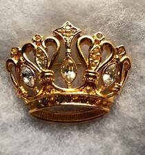 KJL for Avon CROWN BROOCH Kenneth Jay Lane Signed Gold-Plated Pin Rhinestones