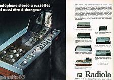 PUBLICITE ADVERTISING 065  1974  RADIOLA  magnétophone stéréo à cassettes ( 2p)