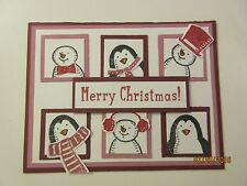 Handmade Christmas Card - Penguins and Snowman - Using Stampin' Up products KIT