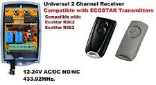 Universal 433.92MHz 2 Channel Receiver Compatible with ECOSTAR Transmitters