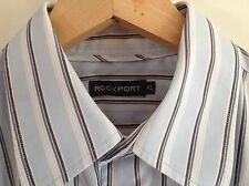 Mens Rockport Blue Striped Shirt Size XLarge 48 Inch Chest