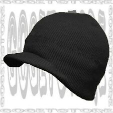 Acrylic Brim Knit Black Stocking Beanie Cap Winter Visor Hat Adult Men Women