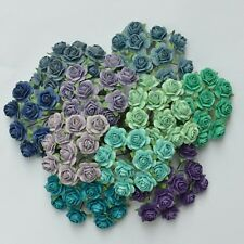 100 MIXED MULBERRY PAPER ARTIFICIAL ROSE FLOWER 15 mm/0.6 INCH BLUE/GREEN/PURPLE