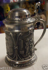 """PEWTER BEER MUG SMALL NICELY DECORATED H 3 1/2"""" or 90 mm"""