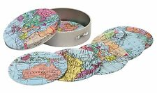Set of 6 World Traveller Map of The World Coasters in Metal Storage Tin
