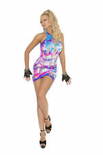 Neon Tie Dye Halter Style Mini Dress Pothole Cut Out Sleeveless 8921 8-10-12