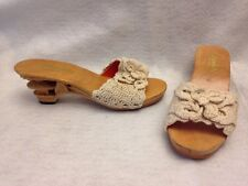 Luming's Original Vintage Hand Carved Crochet Tiki Shoes Heels Size 6 New!