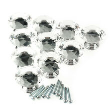 10Pc 40mm Kitchen Crystal Glass Diamond Shape Cabinet Knob Drawer Pull Handle #V