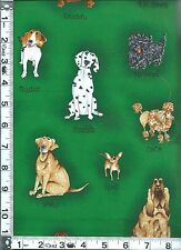 Fabric Kaufman Catberry Dogs Poodle Chihuahua Scottie dachshund green BTHY