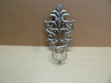 Filigree style Wall Candle Sconce Holder Silver Metal with Basket Home Decor