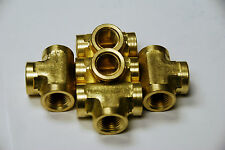 Brass Fittings: Brass Tee Forged Female Pipe Size 1/2, QTY 5