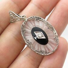 925 Sterling Silver Real Diamond Black Onyx Gemstone Frosted Glass Pendant