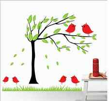 Asmi Collection Pvc Wall Stickers Beautiful Tree And Birds