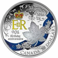 Canada 2016 Queen Elizabeth II 90th Birthday Royal Cypher Crown, Sash $20 Silver